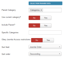 Selection parameters