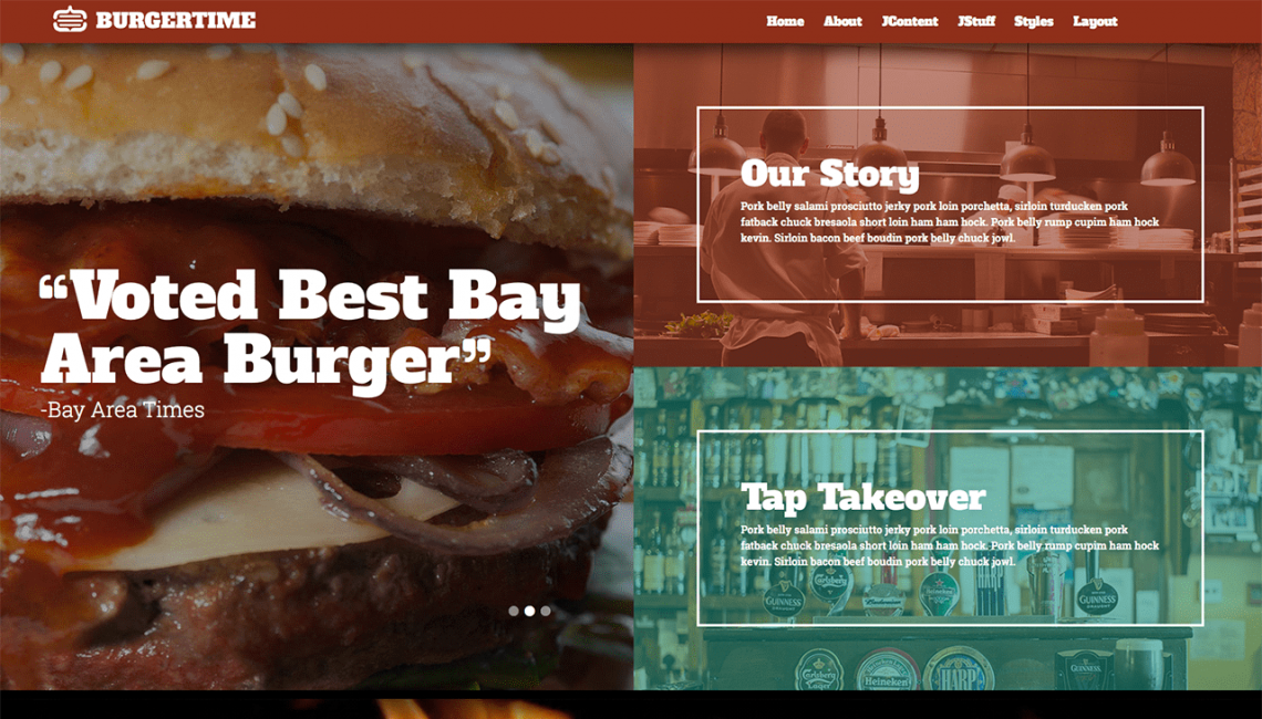 burgertime a responsive restaurant template for joomla